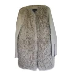 Manteau en fourrure MAJE Blanc, blanc cassé, écru