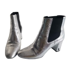 High Heel Ankle Boots SAINT LAURENT Silver