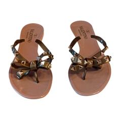 Sandales plates  VALENTINO Doré, bronze, cuivre