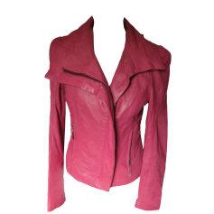 Leather Zipped Jacket GUESS Pink, fuchsia, light pink