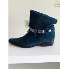 Santiags, bottines, low boots cowboy REGARD Bleu, bleu marine, bleu turquoise