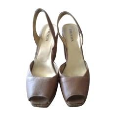 Wedge Sandals PRADA Brown