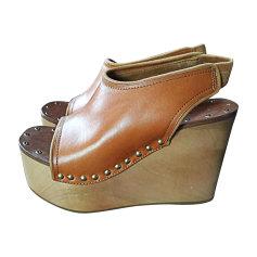 Sandales compensées CÉLINE Beige, camel