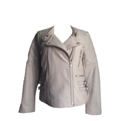 Leather Zipped Jacket COMPTOIR DES COTONNIERS White, off-white, ecru