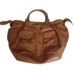 Leather Handbag IKKS Beige, camel