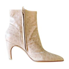 High Heel Ankle Boots DIOR White, off-white, ecru