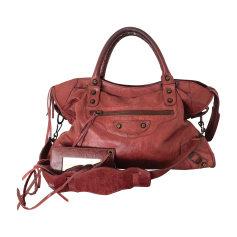 Leather Handbag BALENCIAGA City Red, burgundy