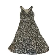 Midi Dress GERARD DAREL Ecrue, motifs noirs