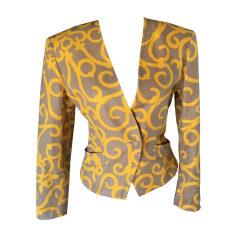 Blazer, veste tailleur YVES SAINT LAURENT BEIGE ET BOUTON D'OR