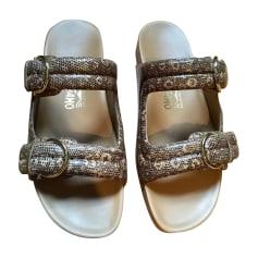 Sandales plates  SALVATORE FERRAGAMO Beige, camel