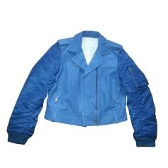 Blouson en cuir SANDRO Bleu, bleu marine, bleu turquoise