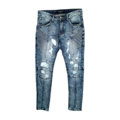 Jeans slim BALMAIN Bleu, bleu marine, bleu turquoise