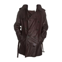 Manteau en cuir BURBERRY Marron