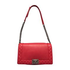 Leather Shoulder Bag CHANEL Boy Red, burgundy