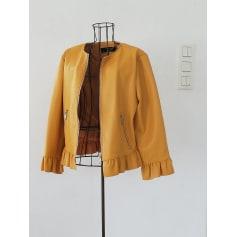 Veste en simili cuir femme jaune