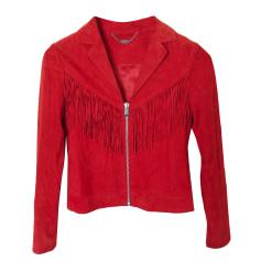 Veste en cuir IKKS rouge coquelicot