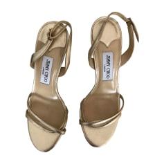 Sandales à talons JIMMY CHOO Doré, bronze, cuivre