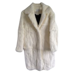 Fur Coat SANDRO White, off-white, ecru