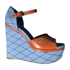 Sandales compensées LOUIS VUITTON Bleu, bleu marine, bleu turquoise