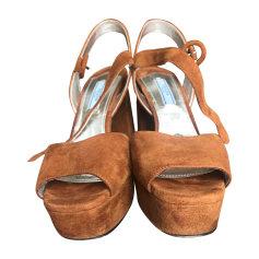 Sandales compensées PRADA Marron