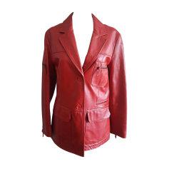 Veste en cuir DOLCE & GABBANA Rouge, bordeaux