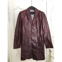 Manteau en cuir REDSKINS Rouge, bordeaux