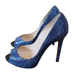 Escarpins à bouts ouverts CHRISTIAN LOUBOUTIN Bleu, bleu marine, bleu turquoise
