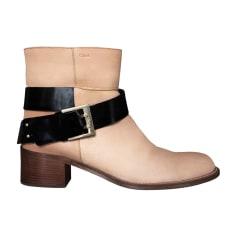 Bottines & low boots motards CHLOÉ Beige, camel
