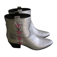 66a0fece15546 Bottines   low boots Femme Argenté, acier de marque   luxe pas cher ...