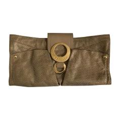 Leather Clutch VERSACE Golden, bronze, copper