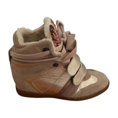 Wedge Ankle Boots SERAFINI Beige, doré