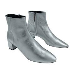 Stivali con tacchi SAINT LAURENT Argentato, acciaio