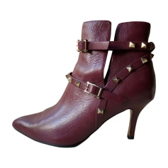 High Heel Ankle Boots VALENTINO Rockstud Red, burgundy