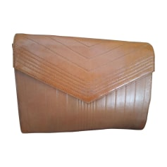 Leather Clutch YVES SAINT LAURENT Brown