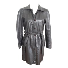 Manteau en cuir COMPTOIR DES COTONNIERS Marron