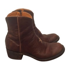 Santiags, bottines, low boots cowboy MEXICANA Marron