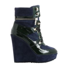 Biker Ankle Boots JOHN GALLIANO Blue, navy, turquoise
