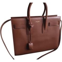Leather Handbag SAINT LAURENT Gold Marron clair