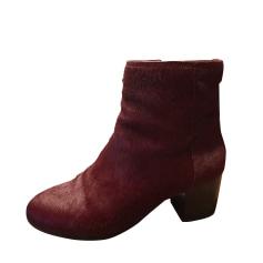 Bottines & low boots à talons COACH Rouge, bordeaux