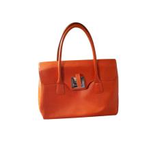 Leather Handbag LE TANNEUR Orange