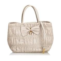 Leather Shoulder Bag PRADA Gray