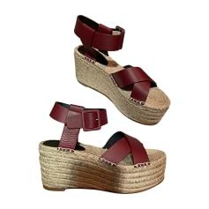 Sandales, nu-pieds Femme Rouge, bordeaux de marque   luxe pas cher ... 7d192966e8a