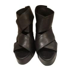 Sandales compensées ANN DEMEULEMEESTER Noir