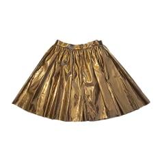 Jupe mi-longue MSGM Doré, bronze, cuivre