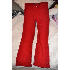 Pantalon droit BERSHKA Rouge, bordeaux
