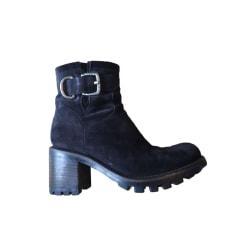 abbe74a4026 Bottines   low boots Femme Daim Bleu