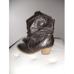 Santiags, bottines, low boots cowboy TEXTO Marron