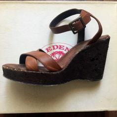Sandales compensées Eden  pas cher