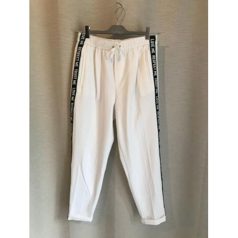 Pantalon large BERSHKA Blanc, blanc cassé, écru