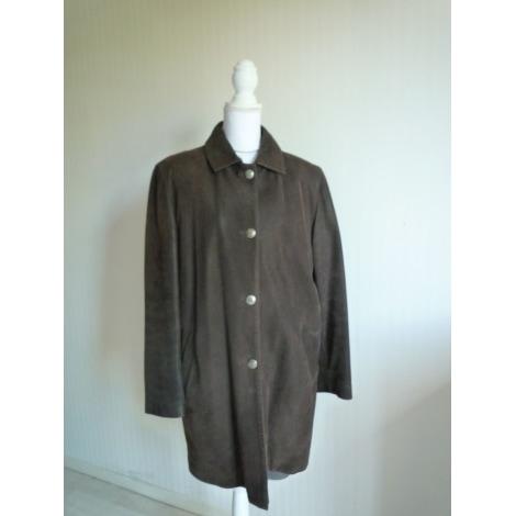 Manteau en cuir BRICE BERGER POUR VENTILO Marron